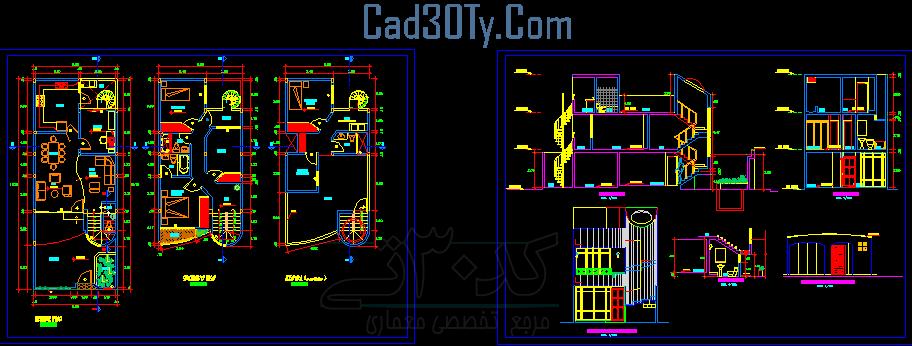 نقشه ساختمان ۲ طبقه +برش ها + نماها