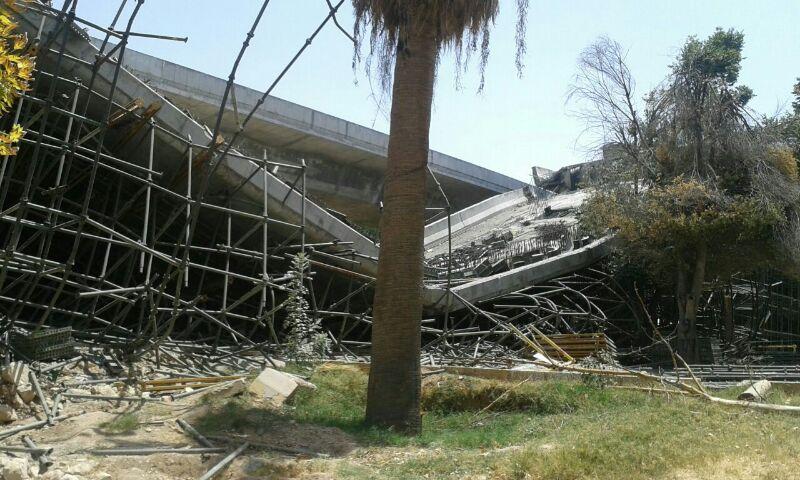 بخشی از پل کابلی ولیعصر شیراز سقوط کرد! /تصاویر